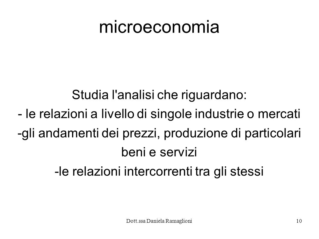 microeconomia Studia l analisi che riguardano: