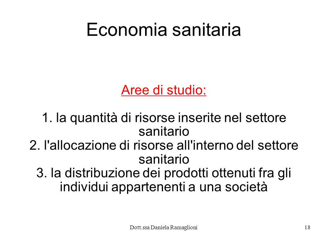 Economia sanitaria Aree di studio: