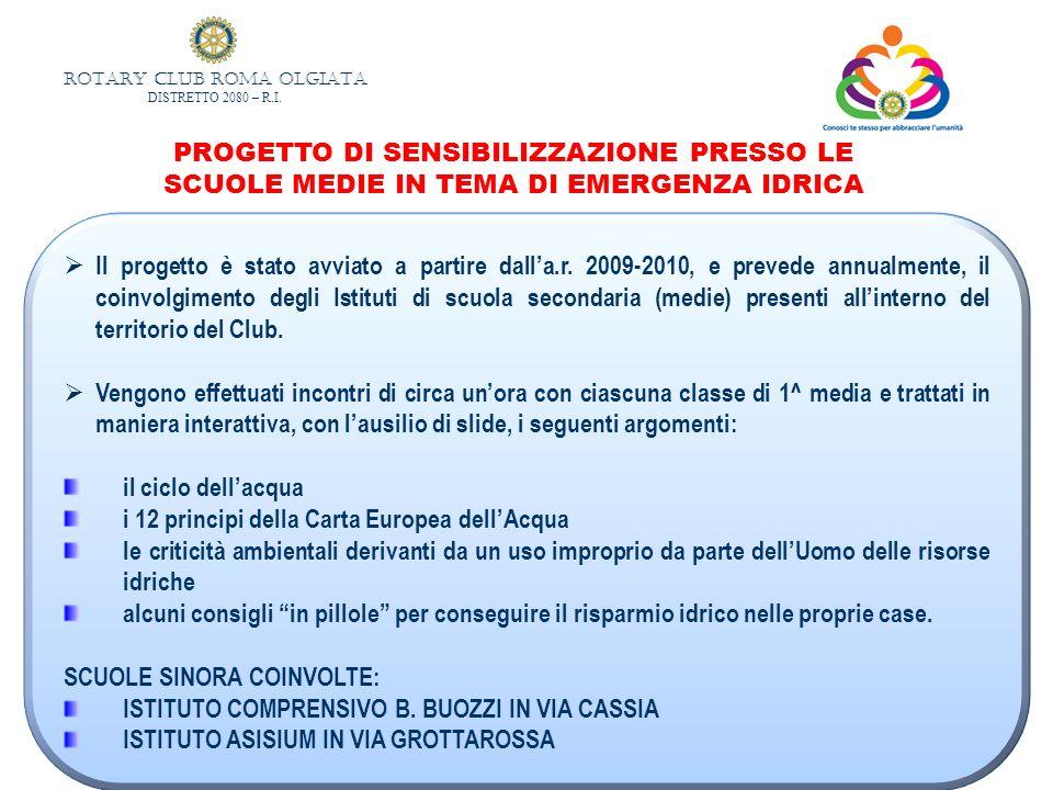 PROGETTO DI SENSIBILIZZAZIONE PRESSO LE SCUOLE MEDIE IN TEMA DI EMERGENZA IDRICA
