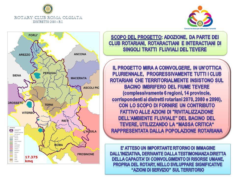 SCOPO DEL PROGETTO: adozione, da parte dei Club rotariani, rotaractiani e interactiani di singoli tratti fluviali del Tevere