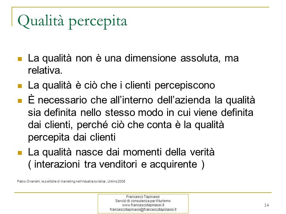 Qualità percepita La qualità non è una dimensione assoluta, ma relativa. La qualità è ciò che i clienti percepiscono.