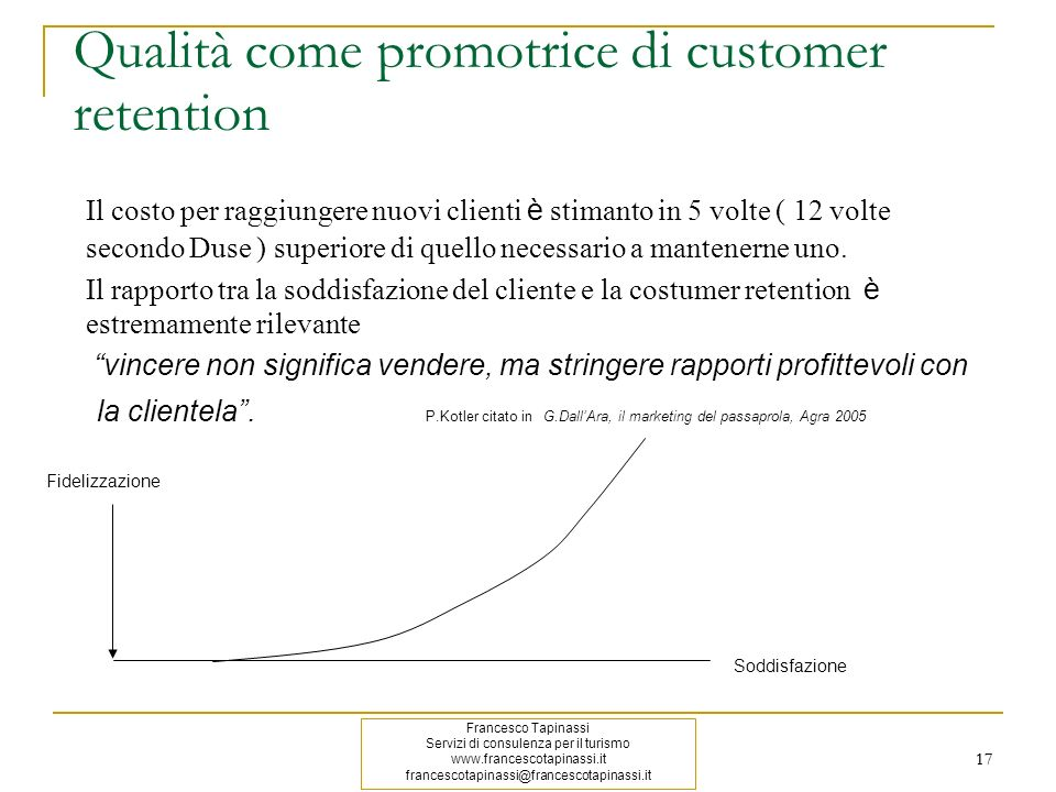 Qualità come promotrice di customer retention