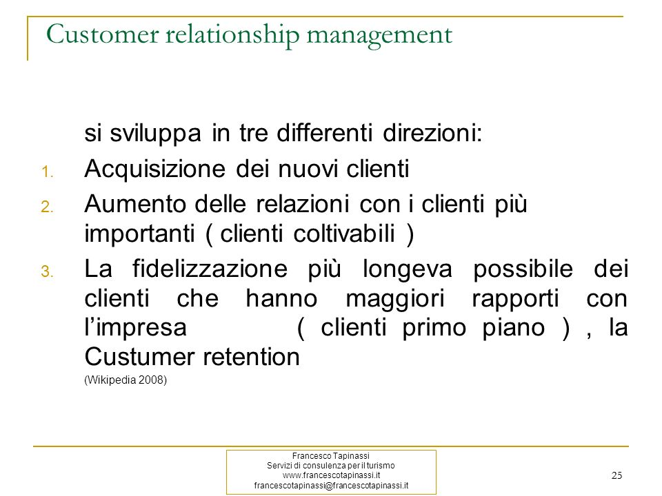 Customer relationship management