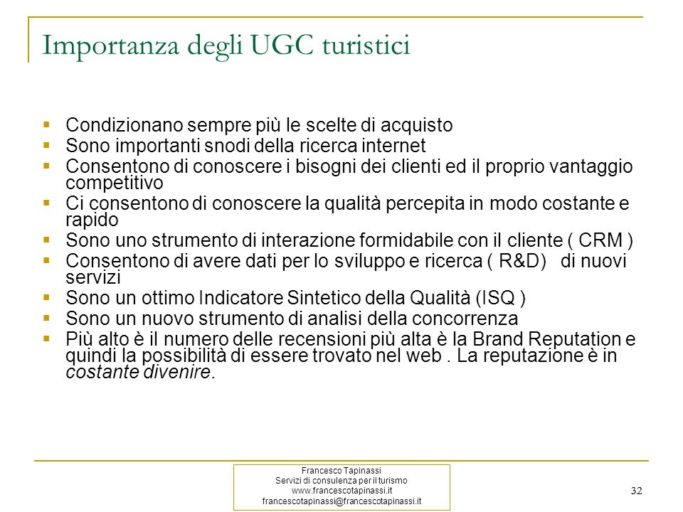 Importanza degli UGC turistici