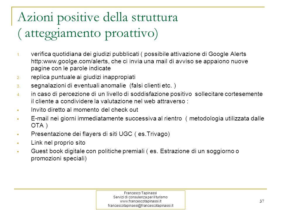 Azioni positive della struttura ( atteggiamento proattivo)