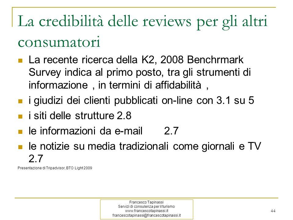 La credibilità delle reviews per gli altri consumatori
