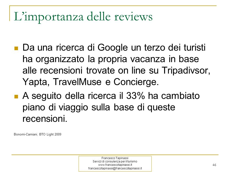 L'importanza delle reviews