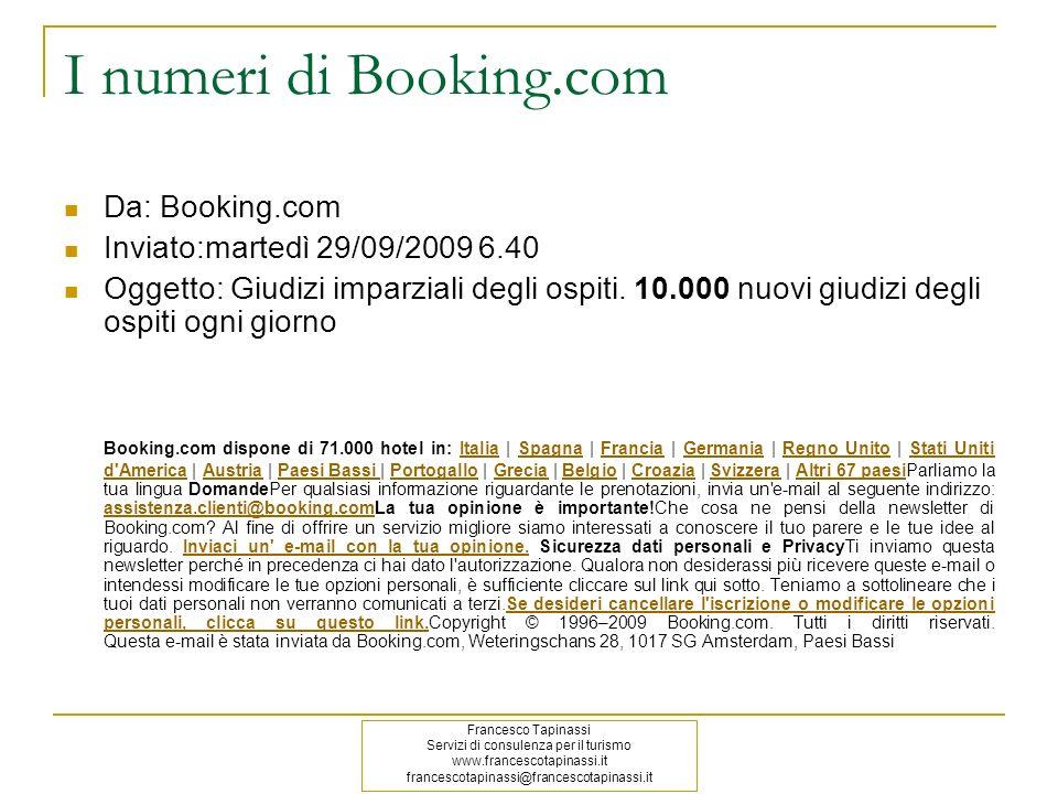 I numeri di Booking.com Da: Booking.com