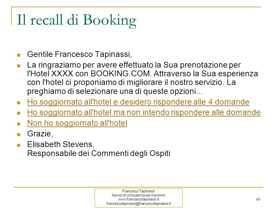 Il recall di Booking Gentile Francesco Tapinassi,