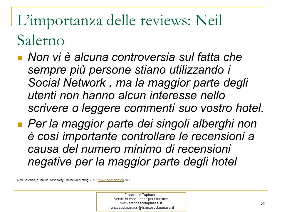 L'importanza delle reviews: Neil Salerno