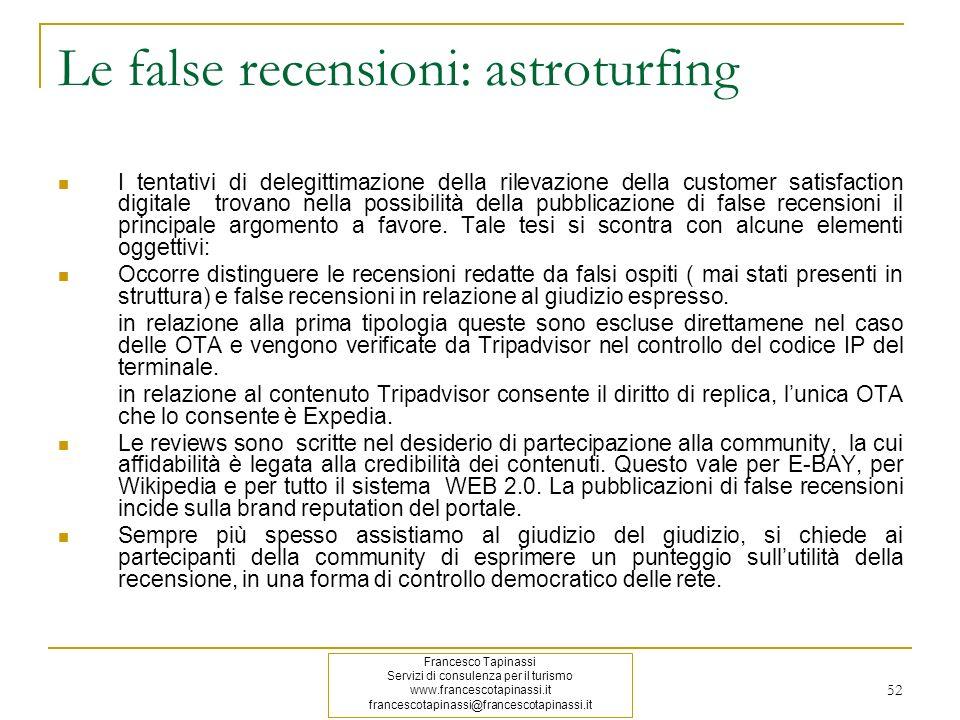 Le false recensioni: astroturfing