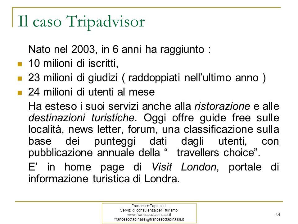 Il caso Tripadvisor Nato nel 2003, in 6 anni ha raggiunto :