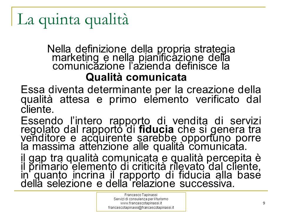 La quinta qualità Nella definizione della propria strategia marketing e nella pianificazione della comunicazione l'azienda definisce la.