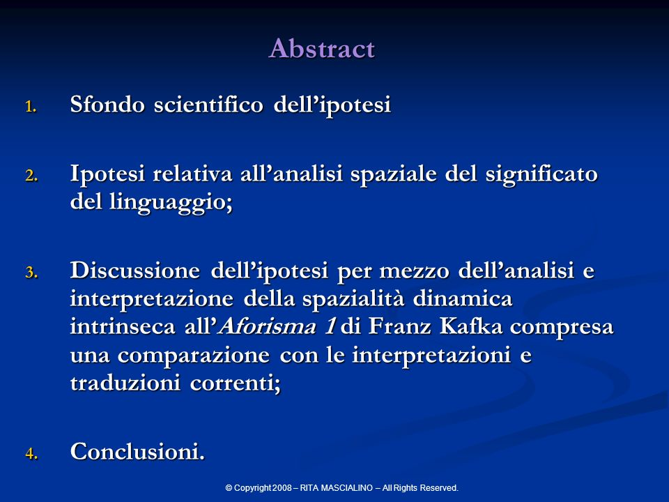 Abstract Sfondo scientifico dell'ipotesi