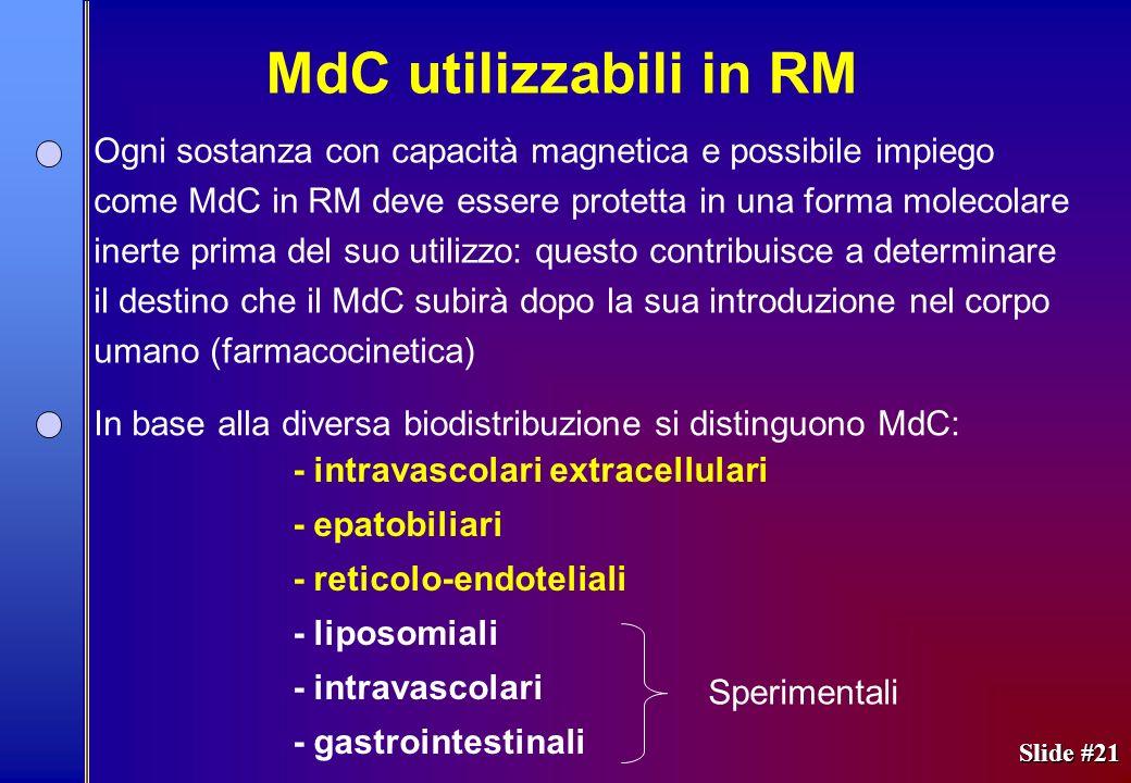 MdC utilizzabili in RM Ogni sostanza con capacità magnetica e possibile impiego.