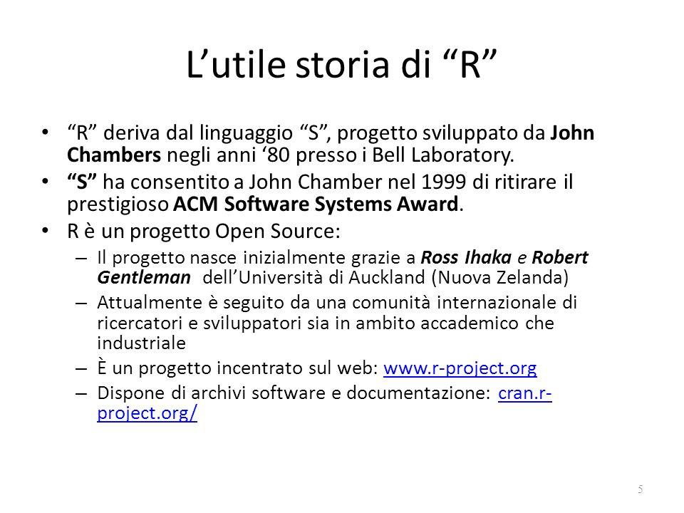 L'utile storia di R R deriva dal linguaggio S , progetto sviluppato da John Chambers negli anni '80 presso i Bell Laboratory.