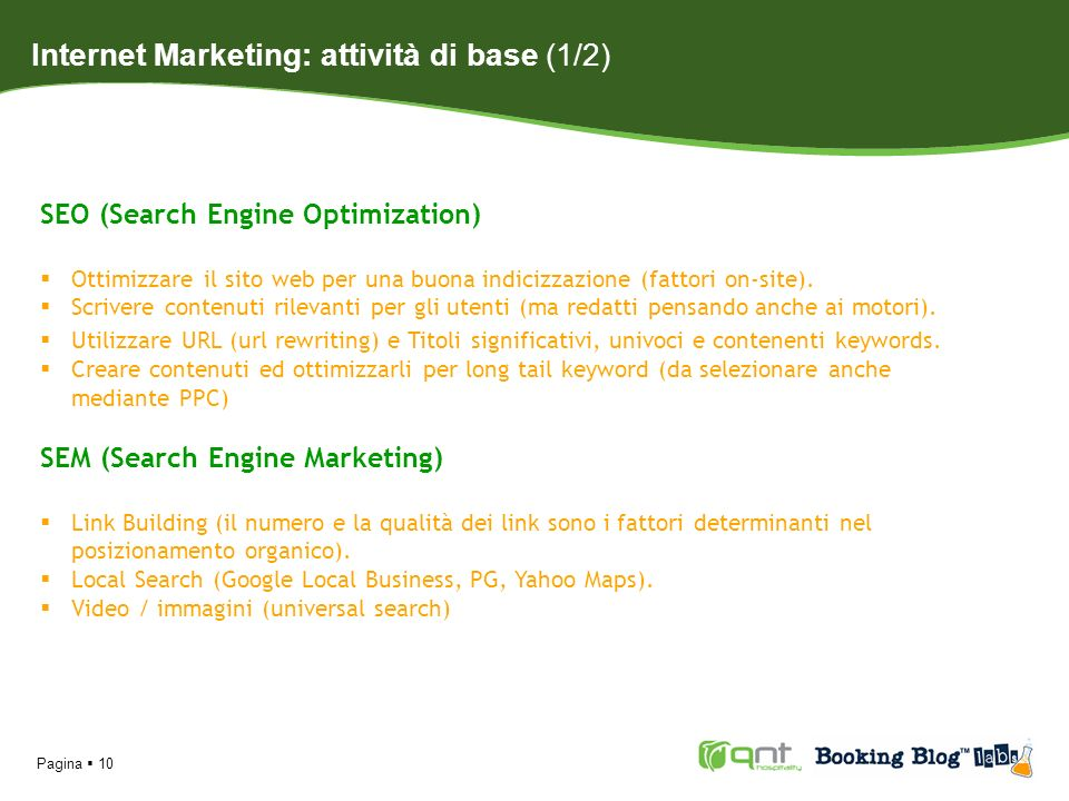 Internet Marketing: attività di base (1/2)
