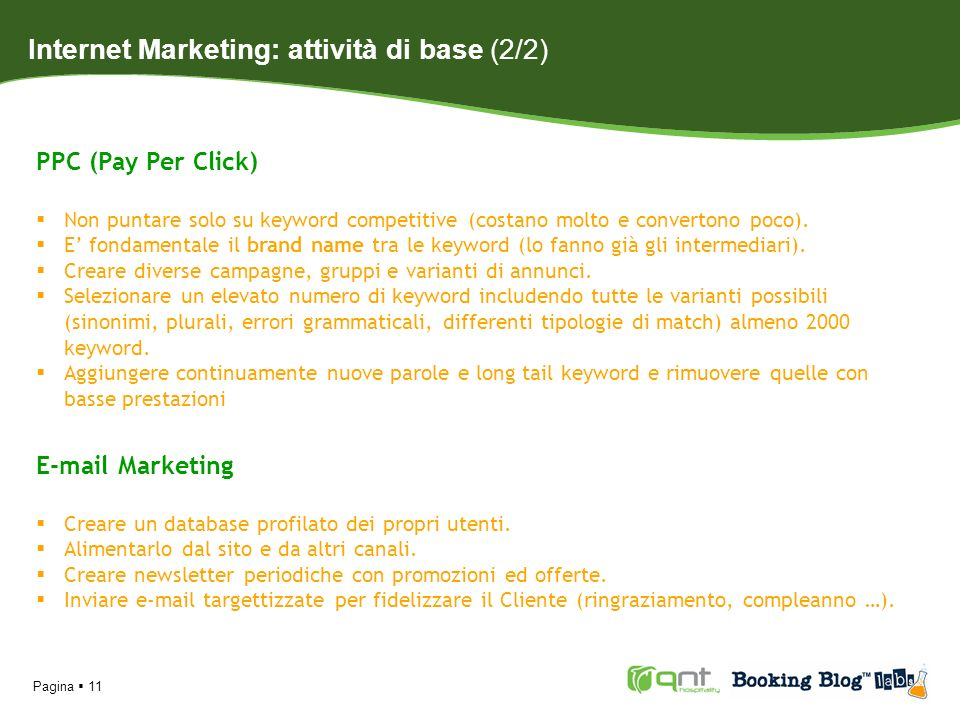 Internet Marketing: attività di base (2/2)