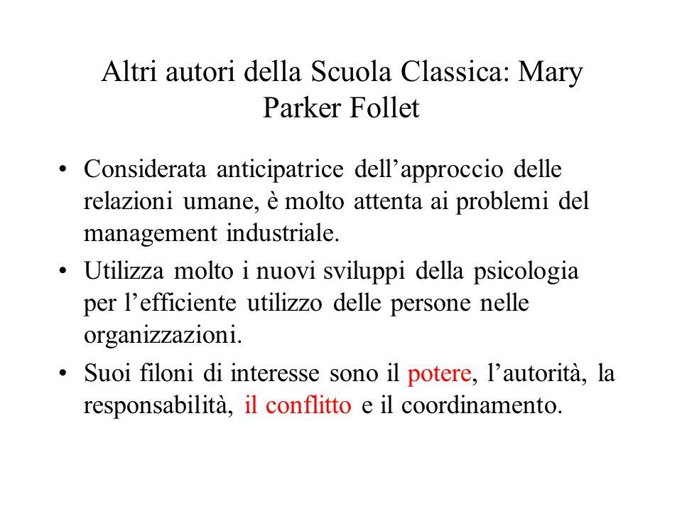 Altri autori della Scuola Classica: Mary Parker Follet
