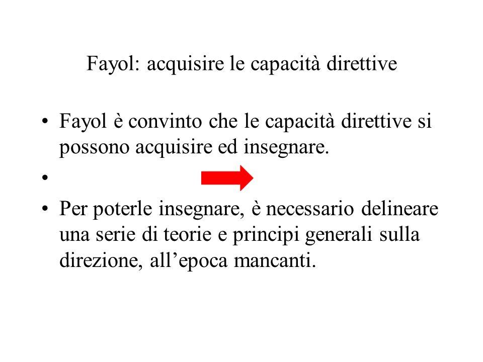 Fayol: acquisire le capacità direttive