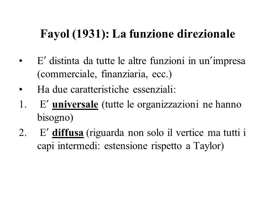 Fayol (1931): La funzione direzionale