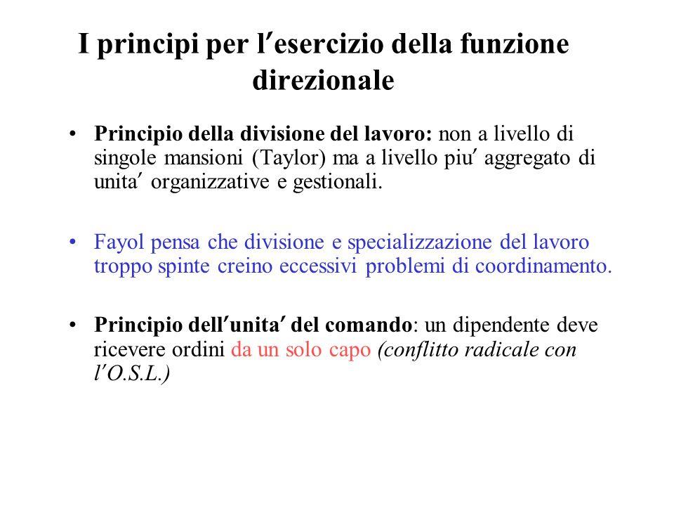 I principi per l'esercizio della funzione direzionale