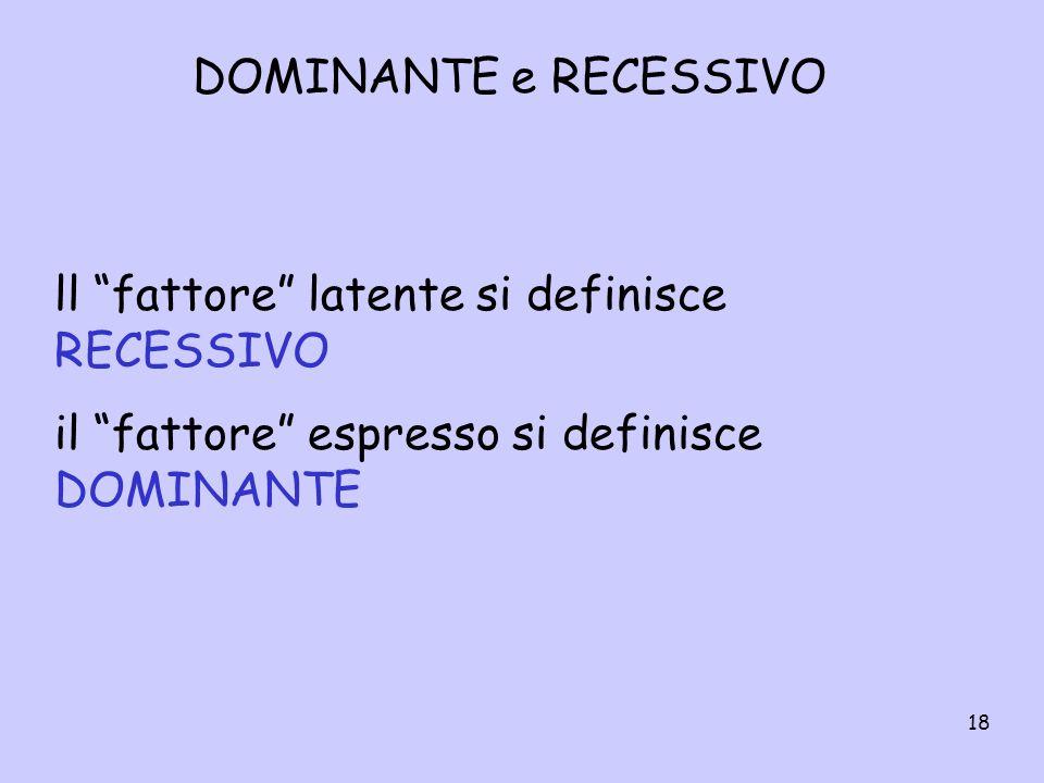 DOMINANTE e RECESSIVO ll fattore latente si definisce RECESSIVO.