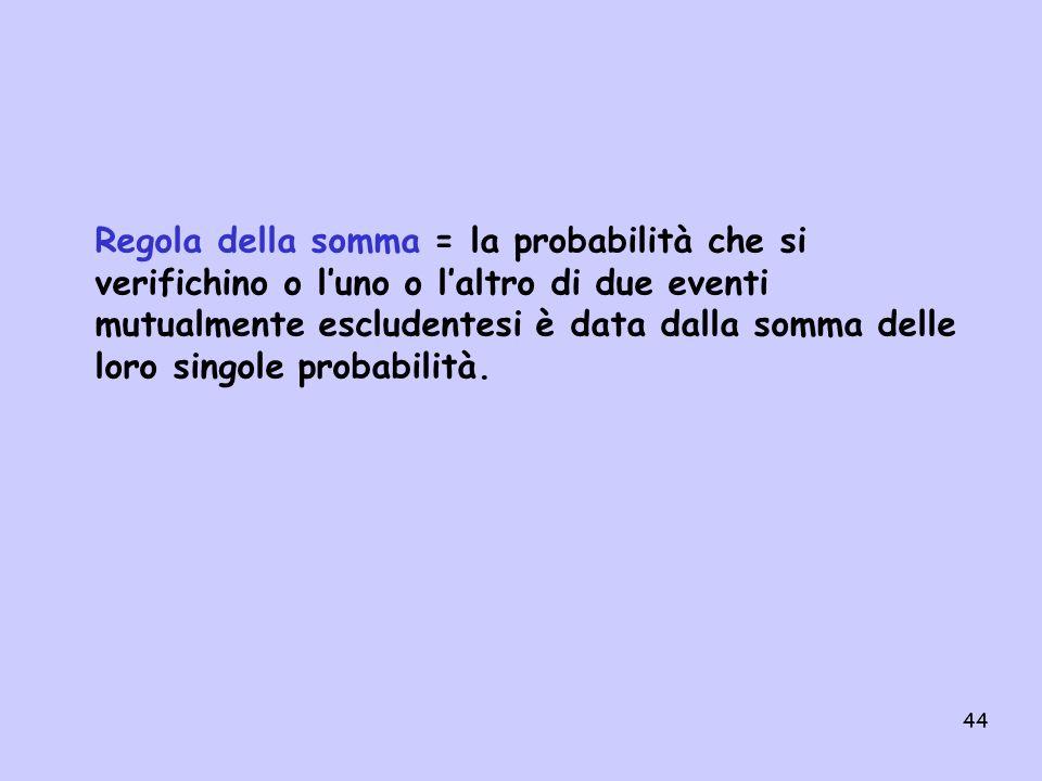 Regola della somma = la probabilità che si verifichino o l'uno o l'altro di due eventi mutualmente escludentesi è data dalla somma delle loro singole probabilità.