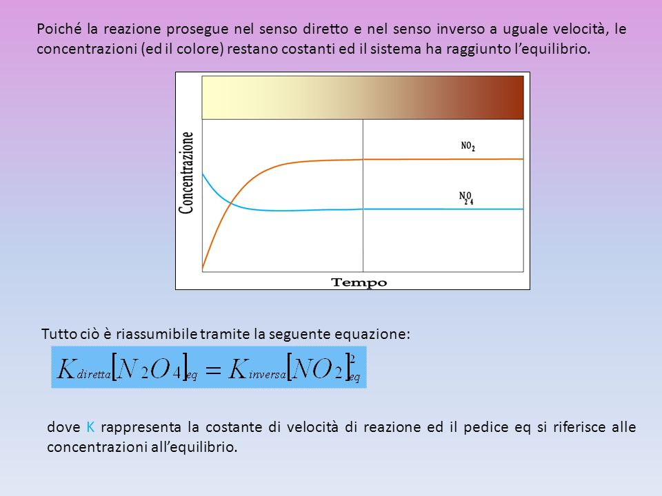 Poiché la reazione prosegue nel senso diretto e nel senso inverso a uguale velocità, le concentrazioni (ed il colore) restano costanti ed il sistema ha raggiunto l'equilibrio.