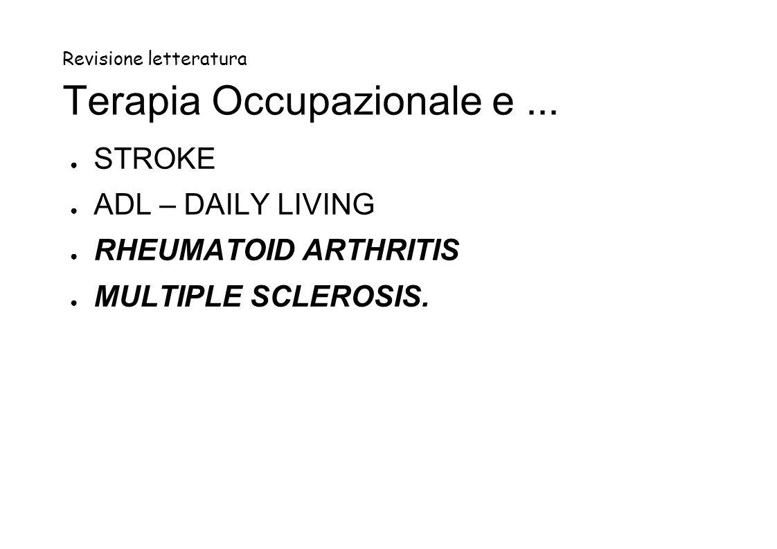Revisione letteratura Terapia Occupazionale e ...