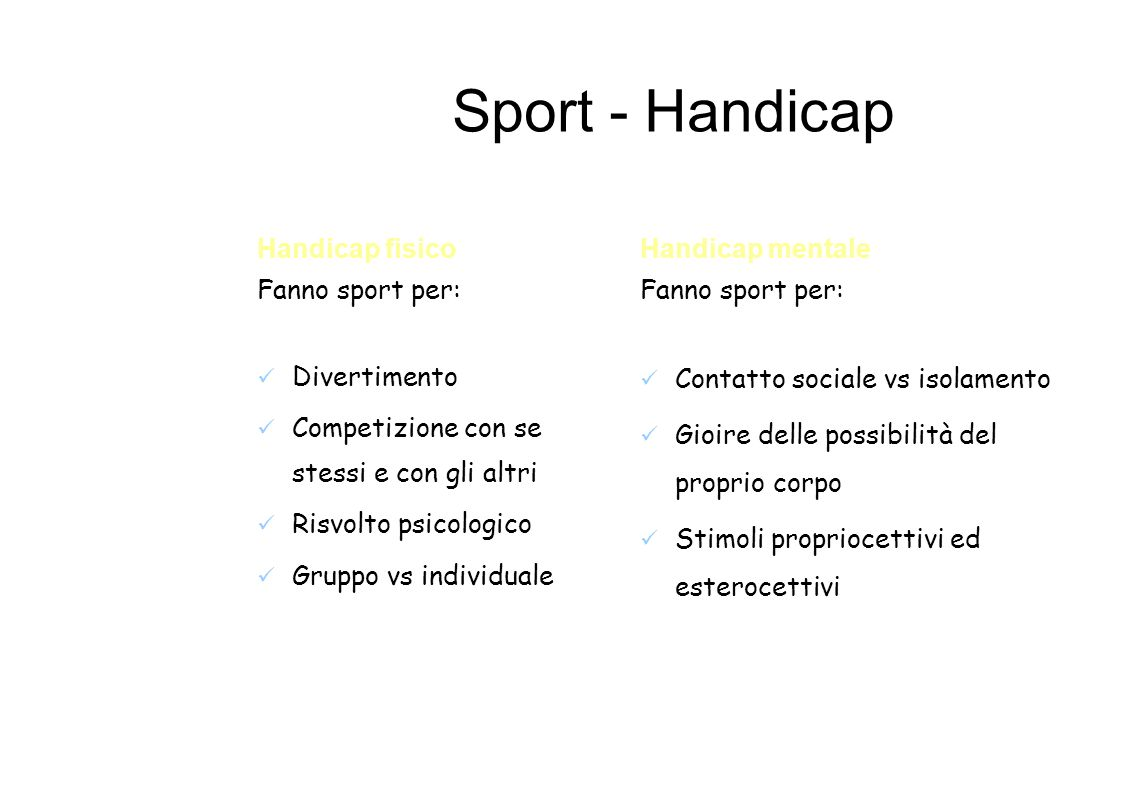 Sport - Handicap Handicap fisico Fanno sport per: Divertimento