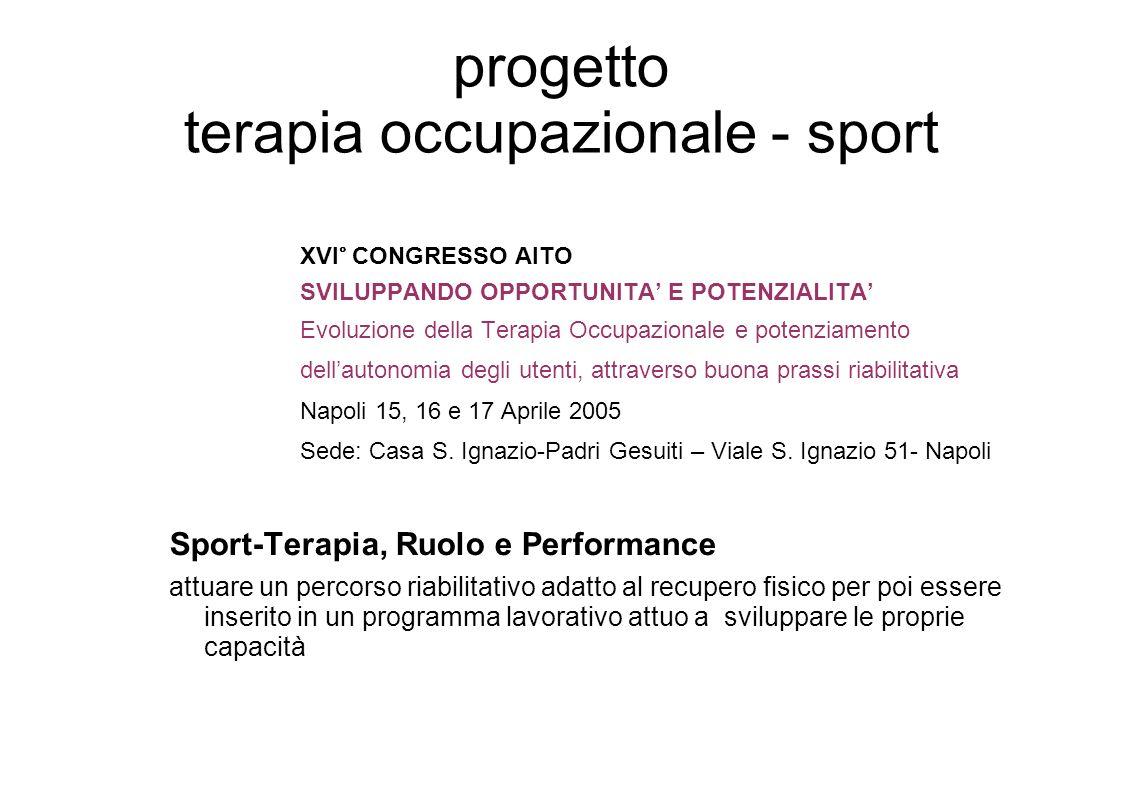 progetto terapia occupazionale - sport