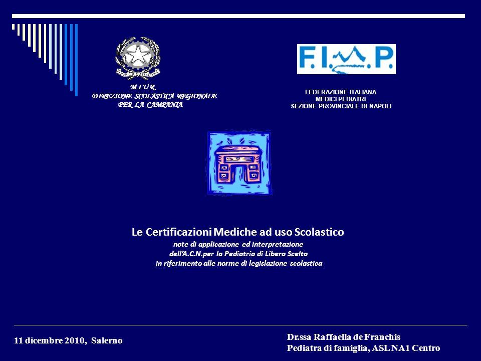Le Certificazioni Mediche ad uso Scolastico
