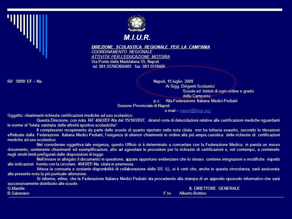 M.I.U.R. DIREZIONE SCOLASTICA REGIONALE PER LA CAMPANIA