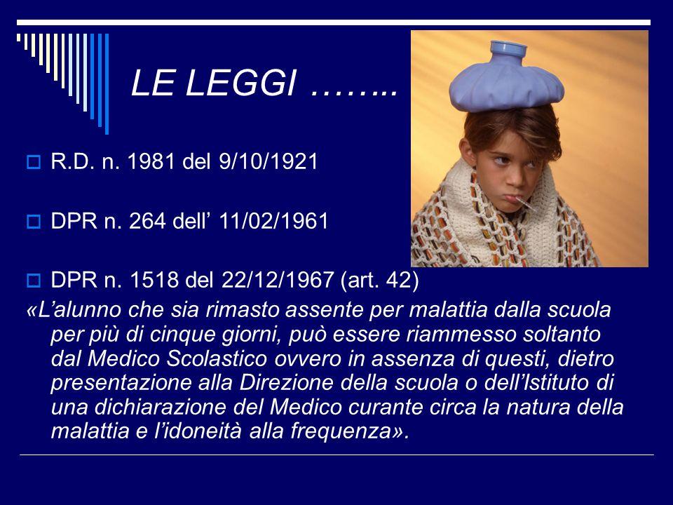LE LEGGI …….. R.D. n. 1981 del 9/10/1921 DPR n. 264 dell' 11/02/1961