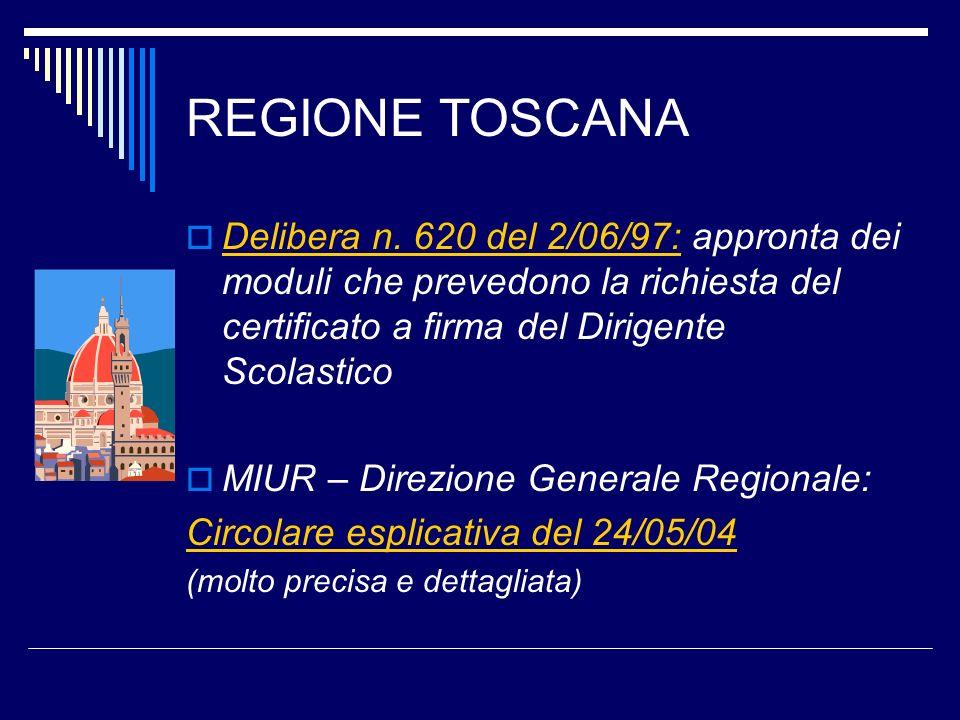 REGIONE TOSCANA Delibera n. 620 del 2/06/97: appronta dei moduli che prevedono la richiesta del certificato a firma del Dirigente Scolastico.