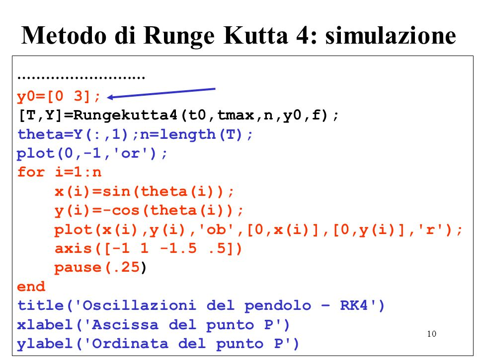 Metodo di Runge Kutta 4: simulazione