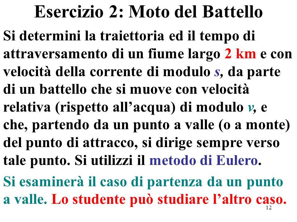 Esercizio 2: Moto del Battello