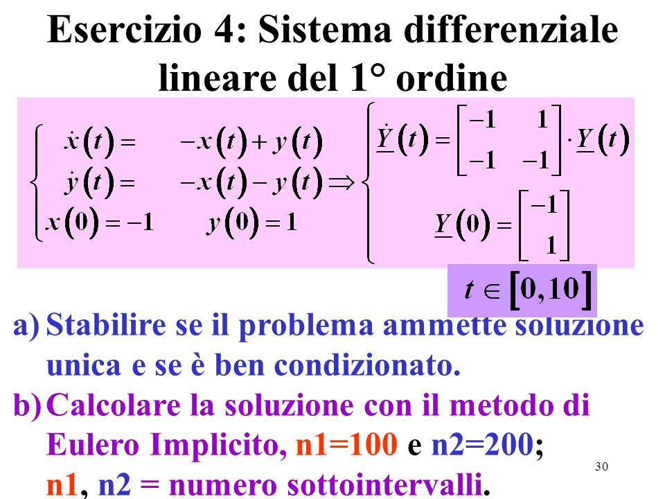 Esercizio 4: Sistema differenziale lineare del 1° ordine