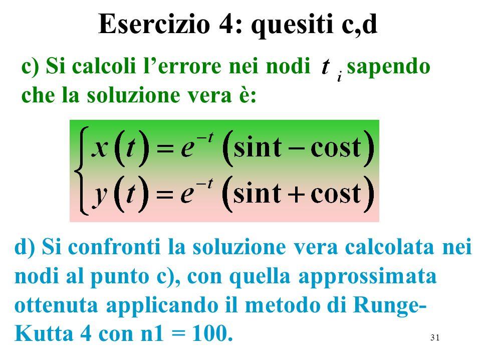 Esercizio 4: quesiti c,d c) Si calcoli l'errore nei nodi sapendo che la soluzione vera è: