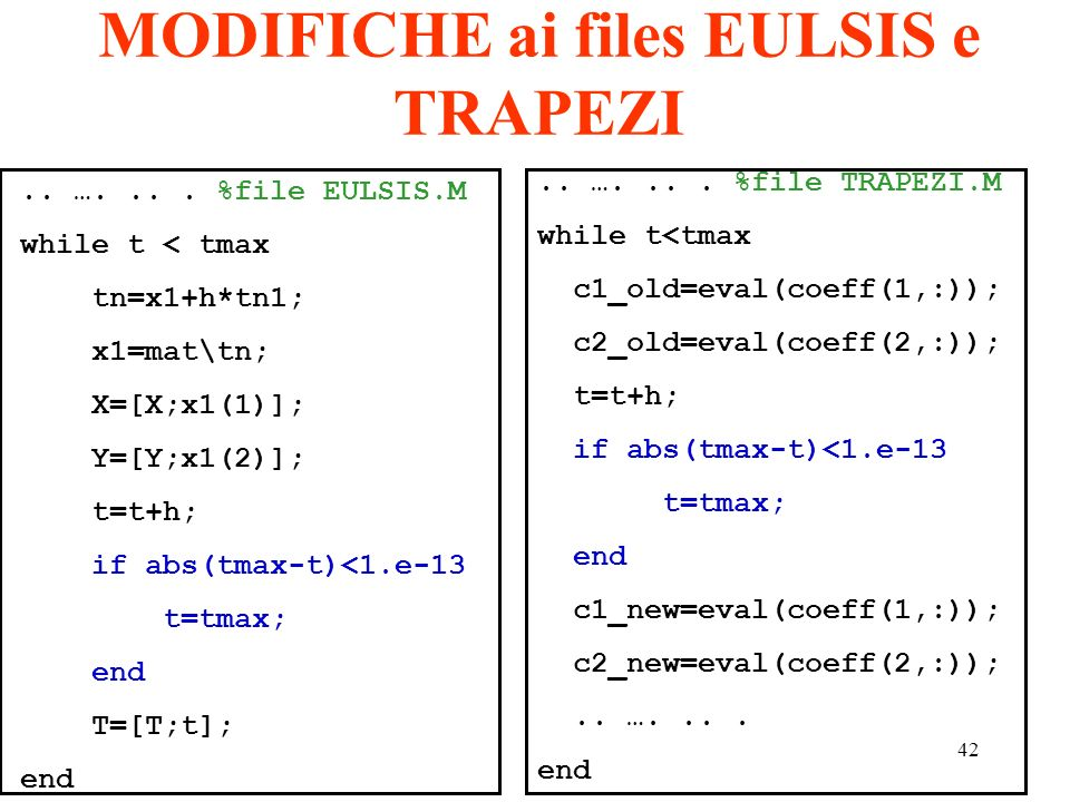 MODIFICHE ai files EULSIS e TRAPEZI