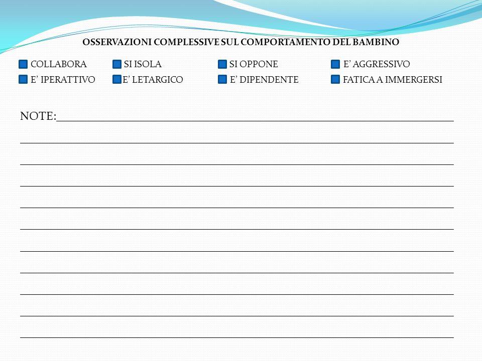 OSSERVAZIONI COMPLESSIVE SUL COMPORTAMENTO DEL BAMBINO
