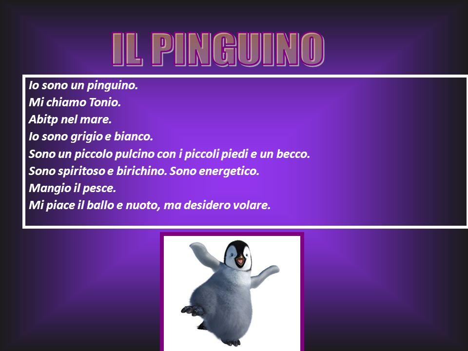 IL PINGUINO Io sono un pinguino. Mi chiamo Tonio. Abitp nel mare.