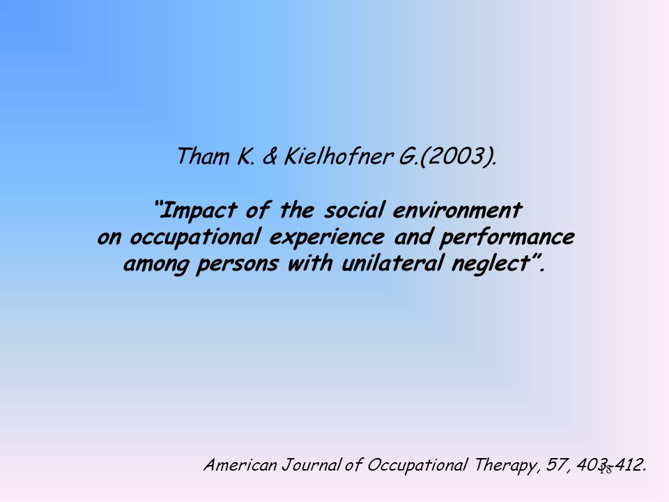 Tham K. & Kielhofner G.(2003). Impact of the social environment on occupational experience and performance among persons with unilateral neglect .