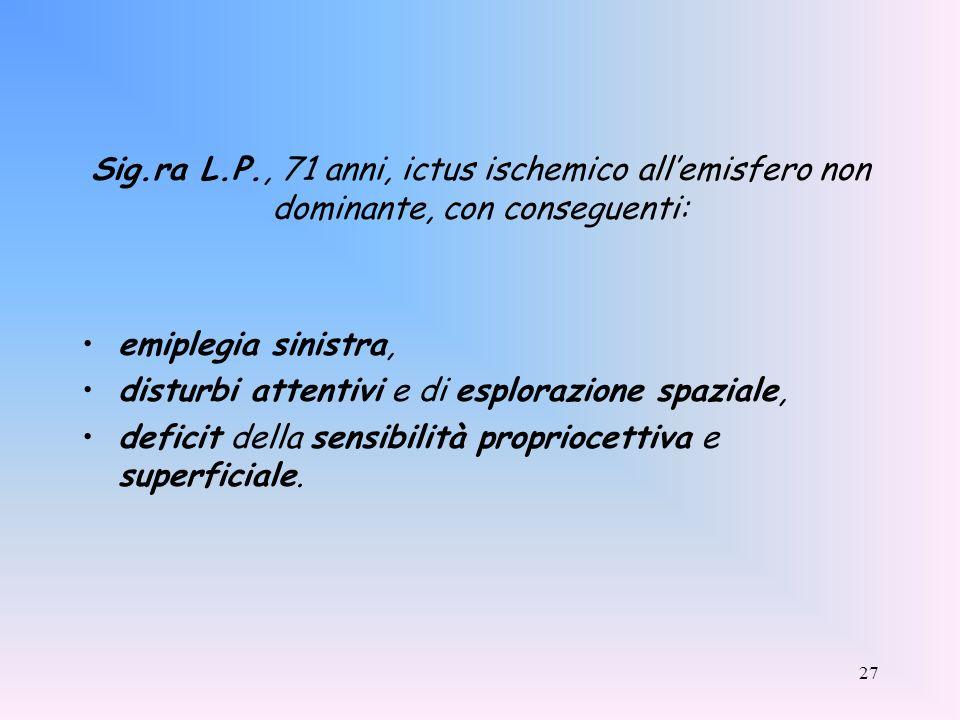Sig.ra L.P., 71 anni, ictus ischemico all'emisfero non dominante, con conseguenti: