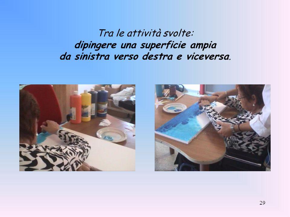 Tra le attività svolte: dipingere una superficie ampia da sinistra verso destra e viceversa.