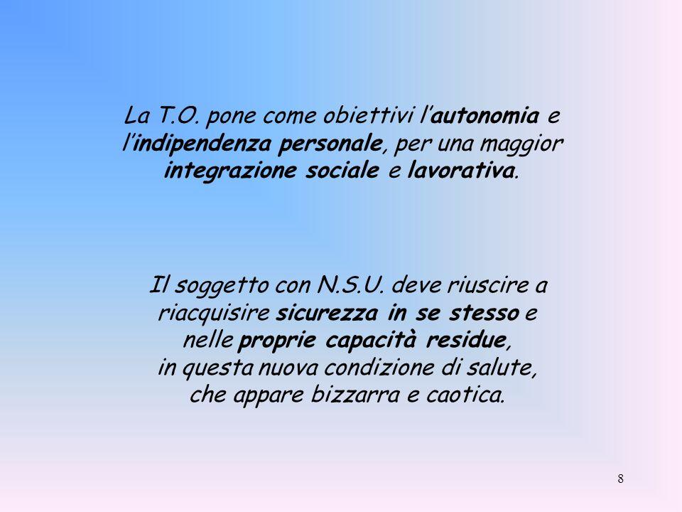 La T.O. pone come obiettivi l'autonomia e l'indipendenza personale, per una maggior integrazione sociale e lavorativa.