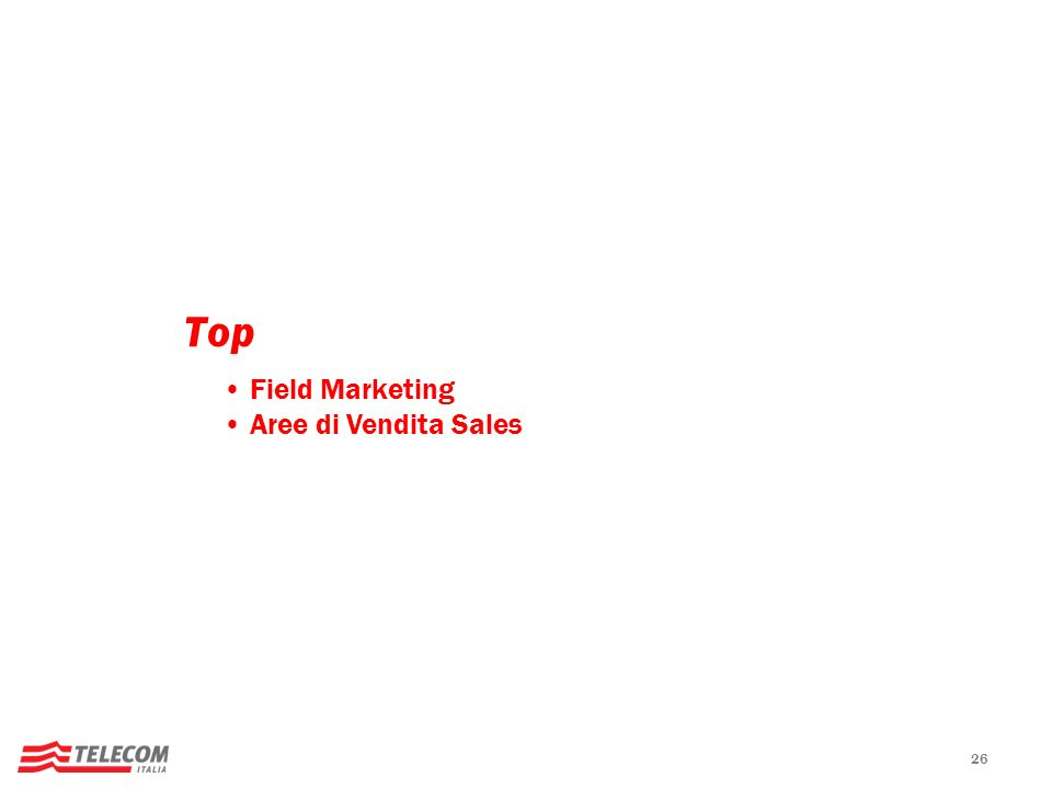 Top Field Marketing Aree di Vendita Sales 26 26