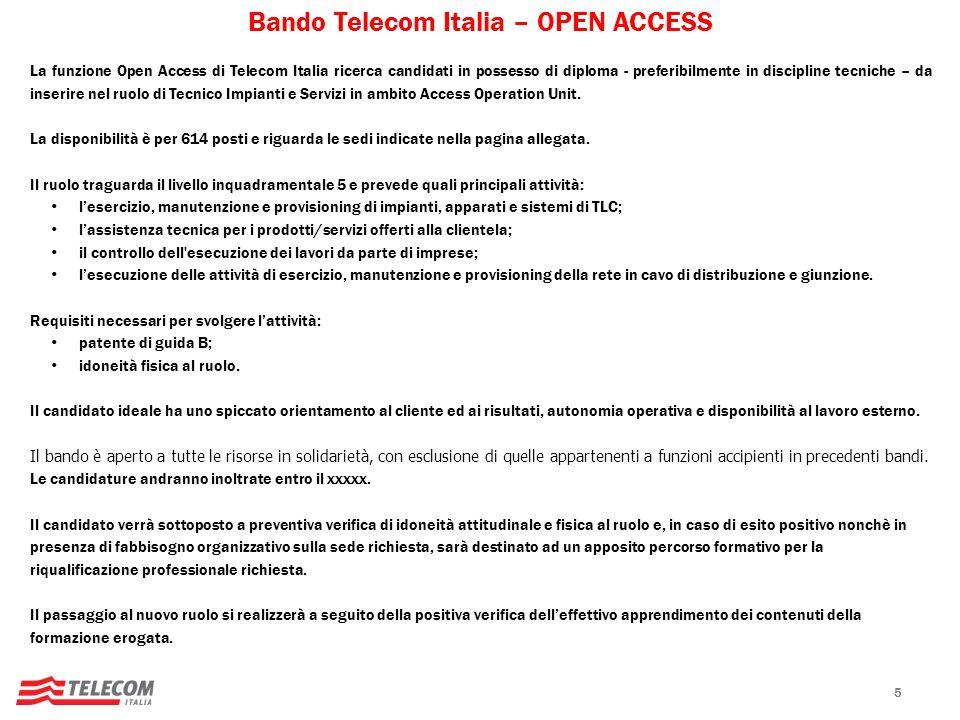 Bando Telecom Italia – OPEN ACCESS
