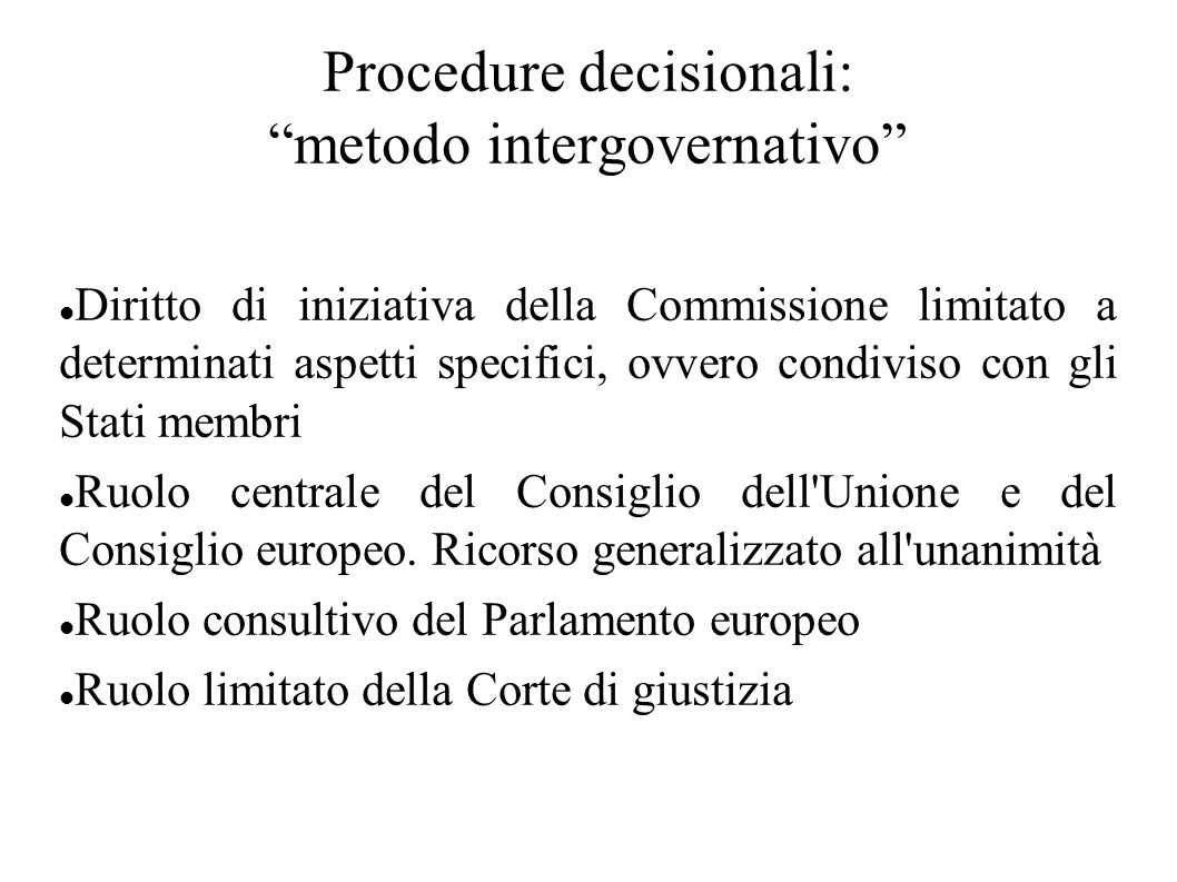 Procedure decisionali: metodo intergovernativo